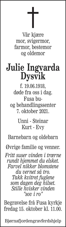 Julie Ingvarda Dysvik Dødsannonse