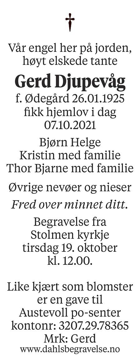 Gerd Djupevåg Dødsannonse