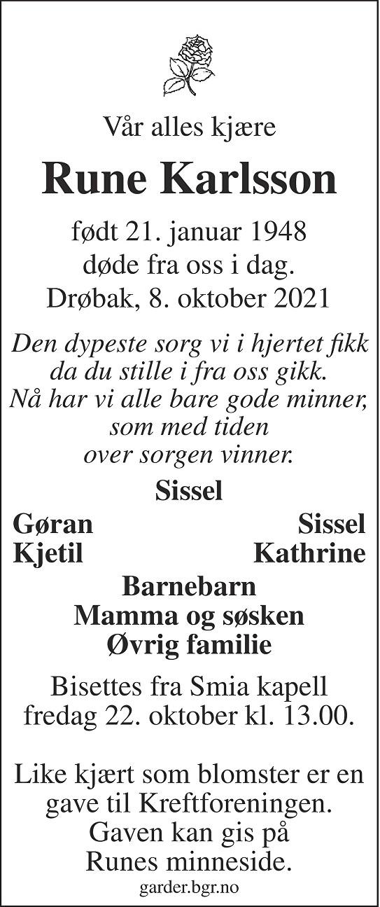 Rune Karlsson Dødsannonse