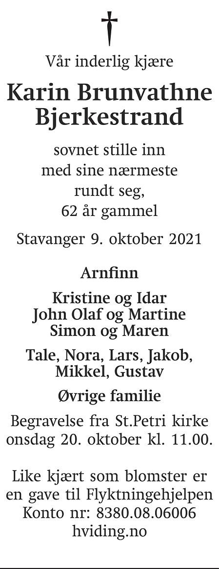 Karin Brunvathne Bjerkestrand Dødsannonse
