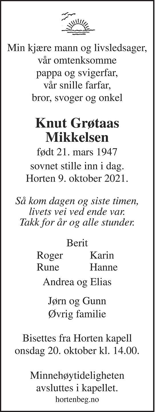 Knut Grøtaas Mikkelsen Dødsannonse