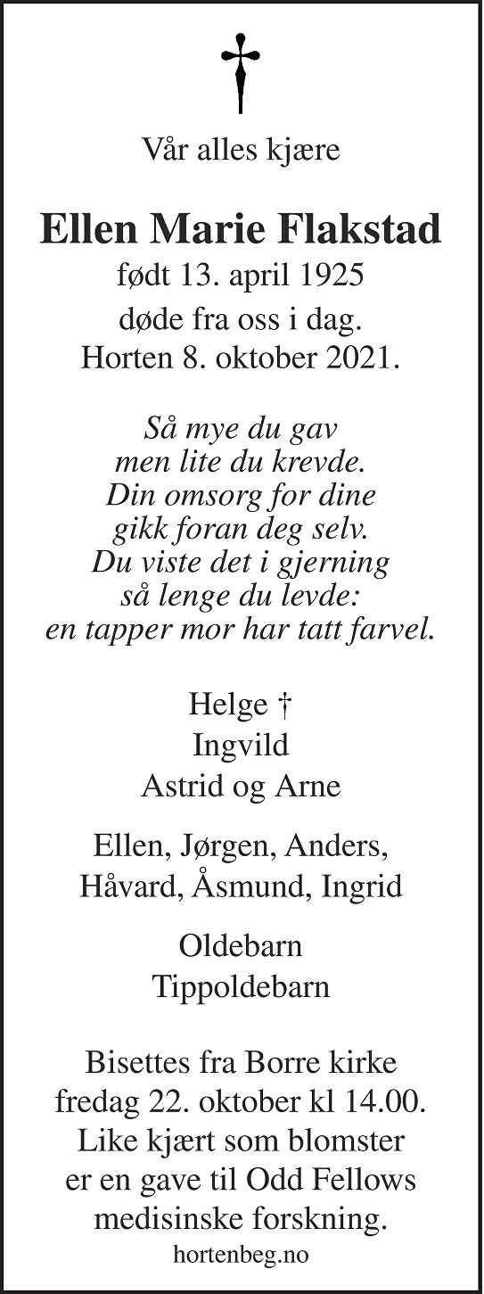 Ellen Marie Flakstad Dødsannonse