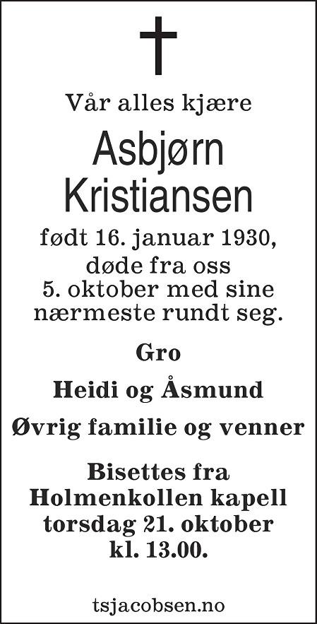 Asbjørn Kristiansen Dødsannonse
