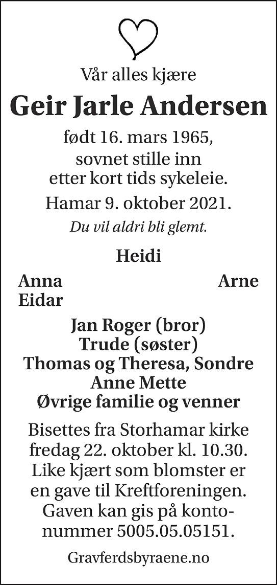 Geir Jarle Andersen Dødsannonse