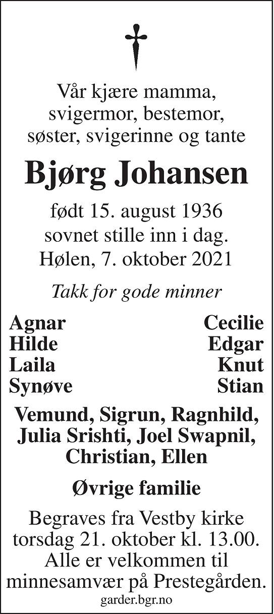 Bjørg Johansen Dødsannonse