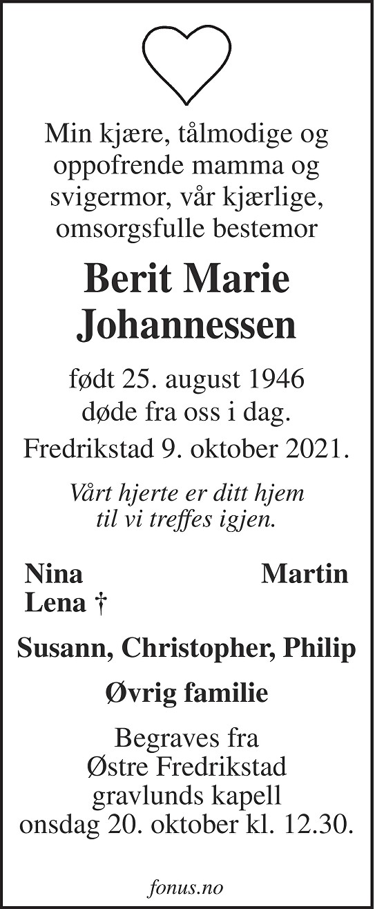 Berit Marie Johannessen Dødsannonse