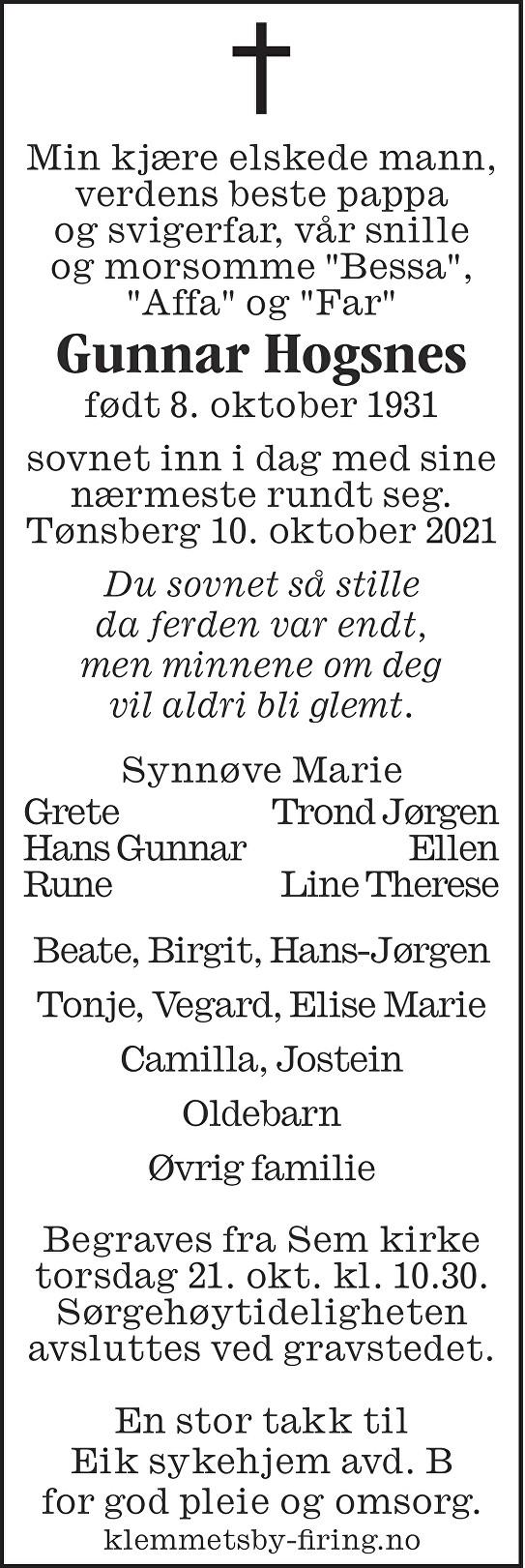 Gunnar Hogsnes Dødsannonse