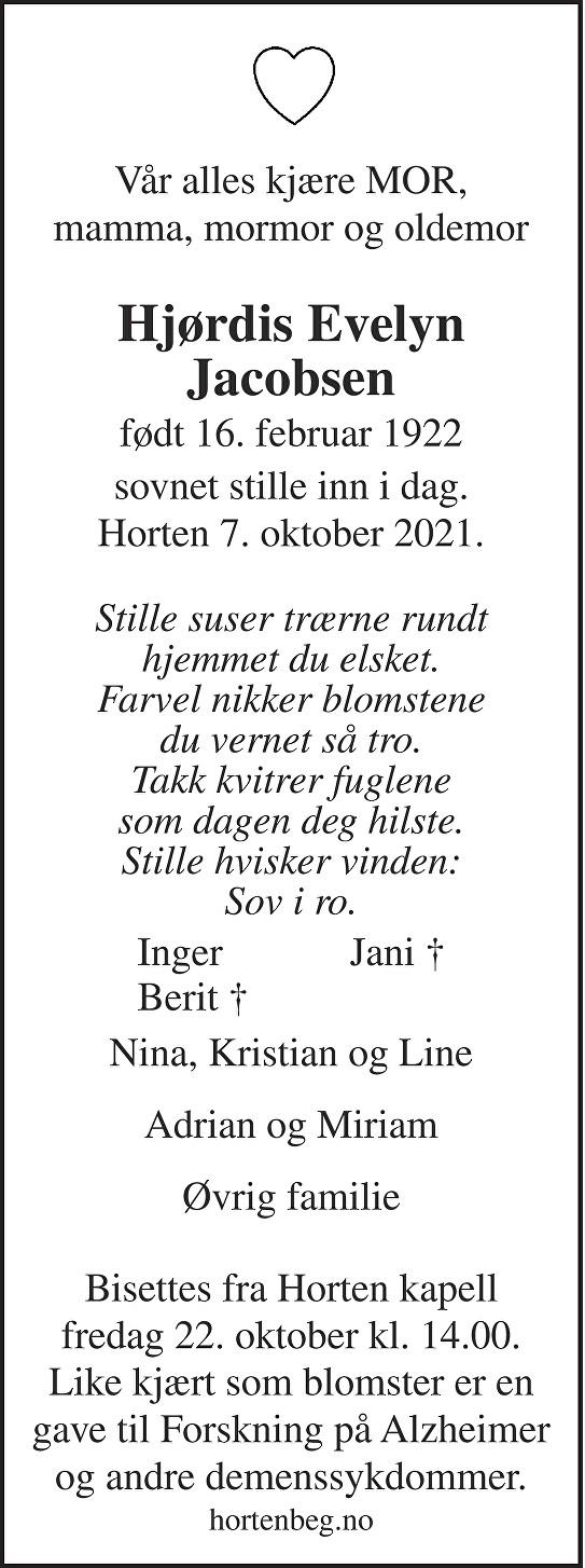 Hjørdis Evelyn Jacobsen Dødsannonse