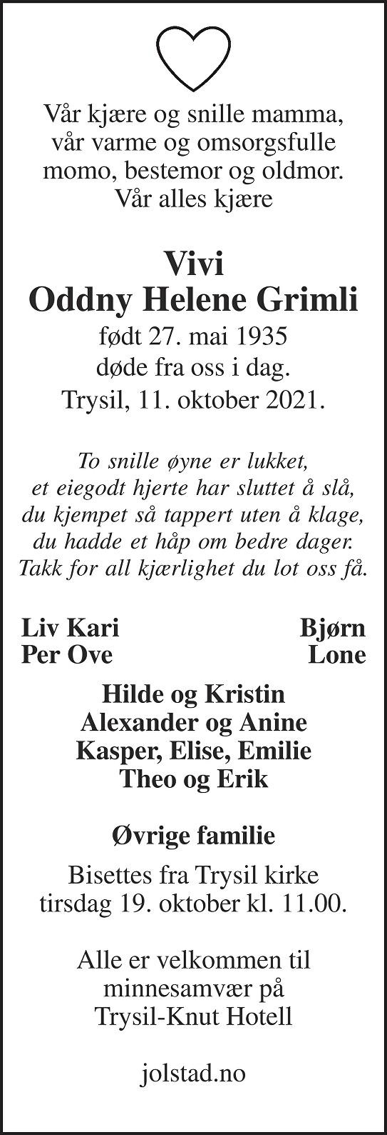 Vivi, Oddny Helene Grimli Dødsannonse
