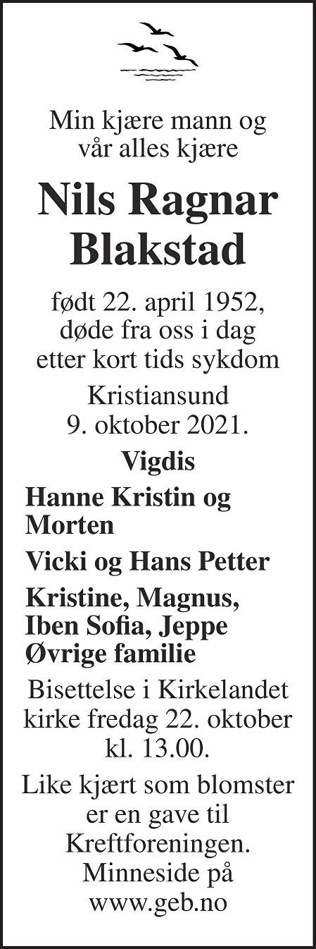 Nils Ragnar Blakstad Dødsannonse