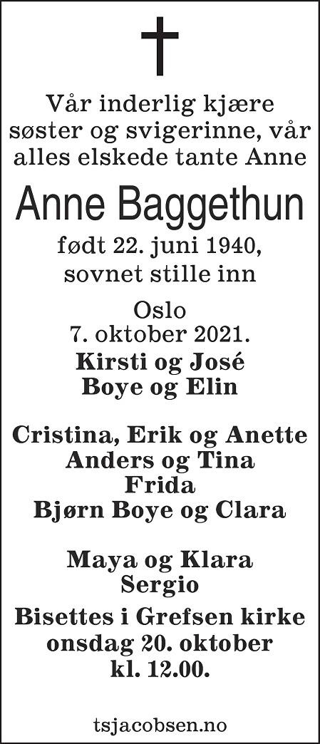 Anne Baggethun Dødsannonse