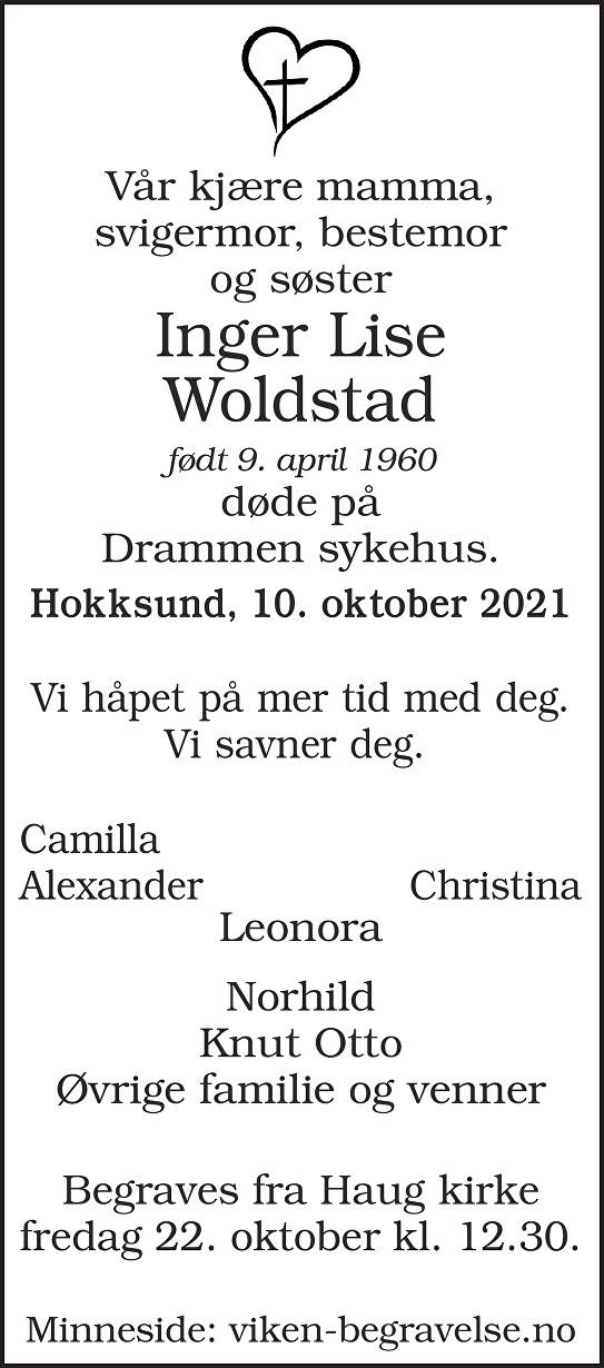 Inger Lise Woldstad Dødsannonse