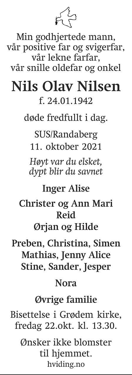 Nils Olav Nilsen Dødsannonse