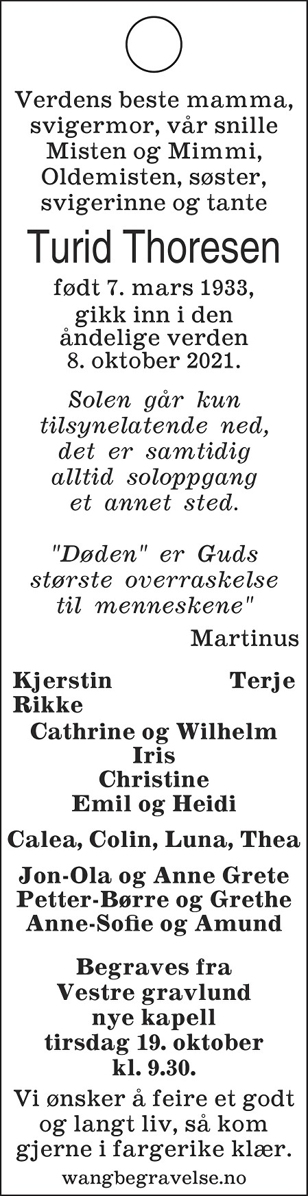 Turid Thoresen Dødsannonse
