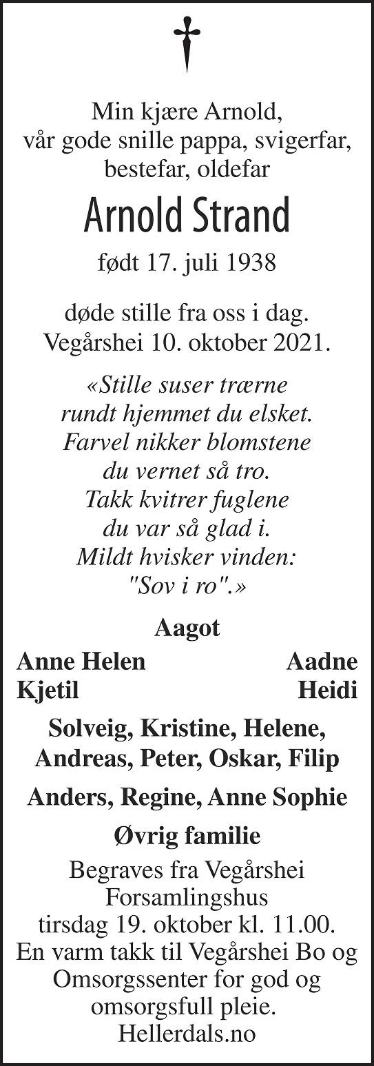 Arnold Strand Dødsannonse