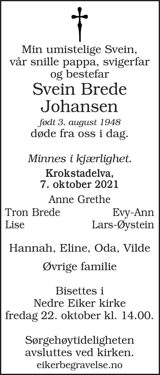 Svein Brede Johansen Dødsannonse