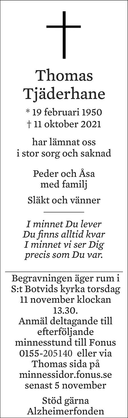Thomas Tjäderhane Death notice