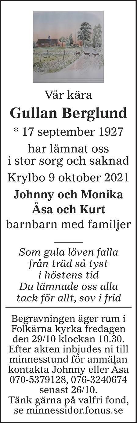 Gullan Berglund Death notice
