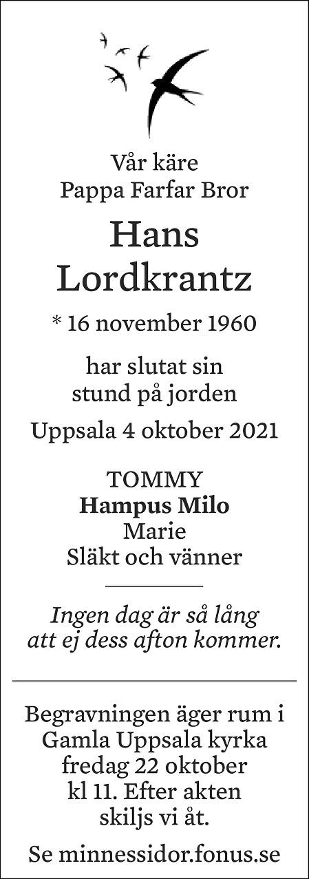 Hans Lordkrantz Death notice