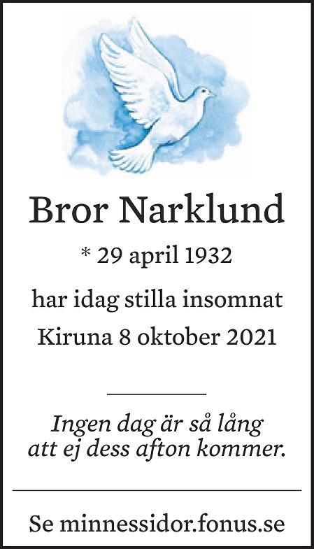 Bror Narklund Death notice