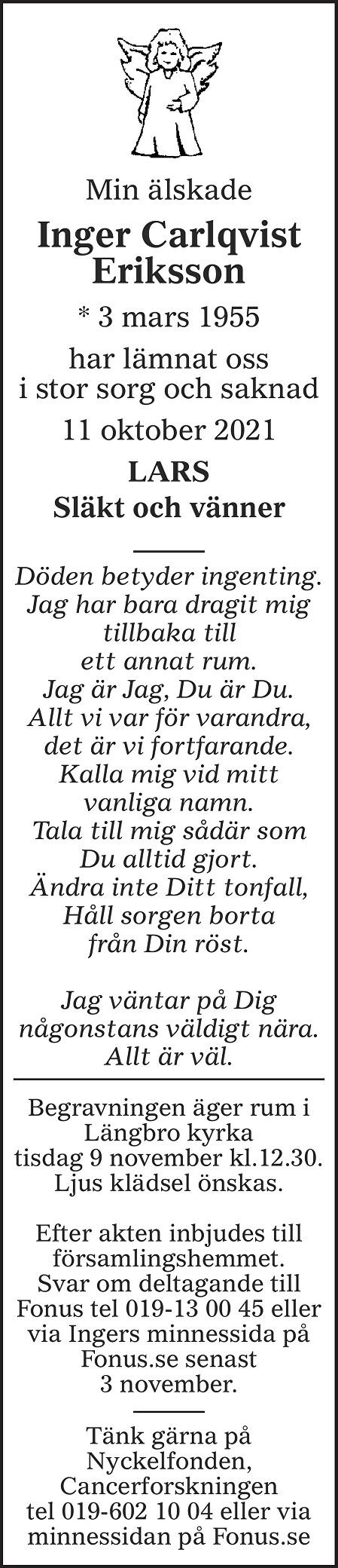 Inger Carlqvist Eriksson Death notice