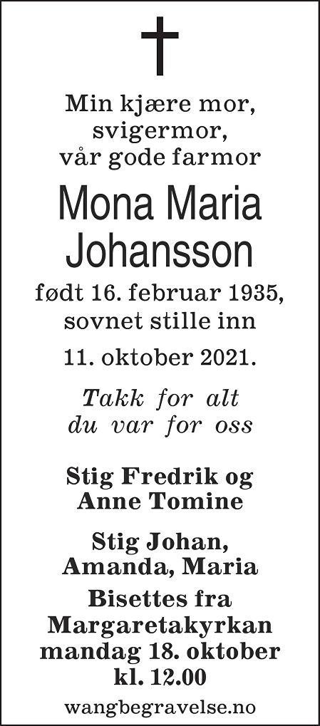 Mona Maria Johansson Dødsannonse