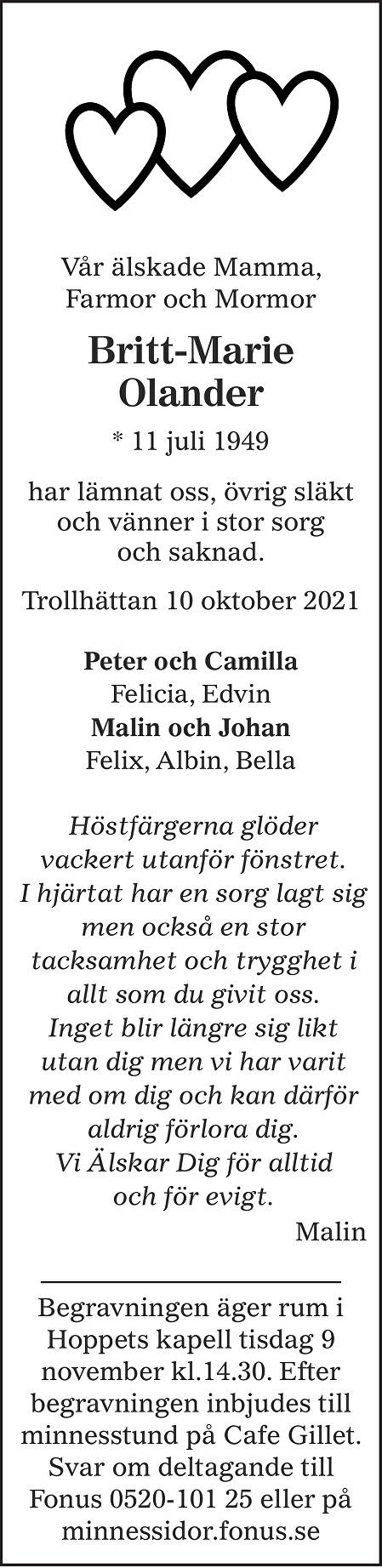 Britt-Marie Olander Death notice