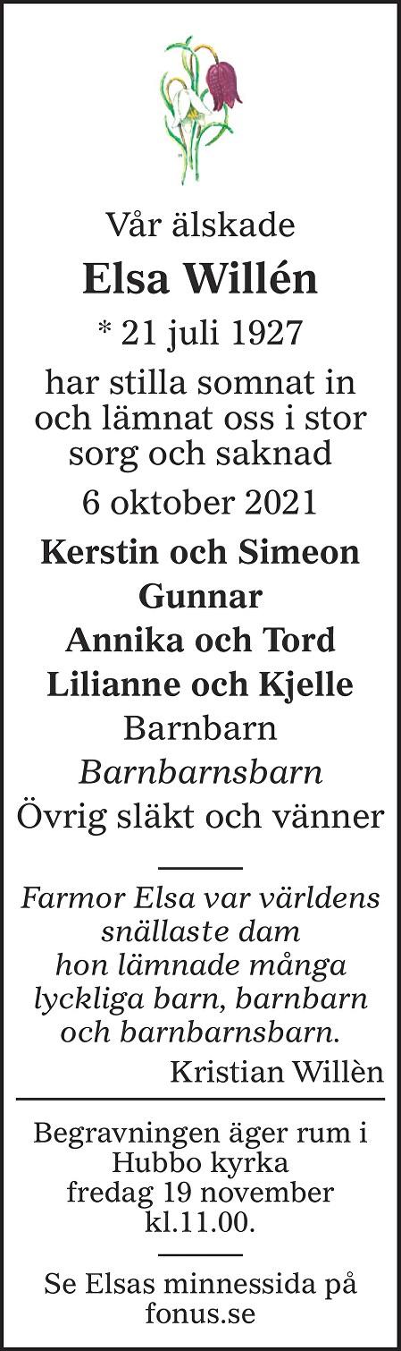 Elsa Willén Death notice