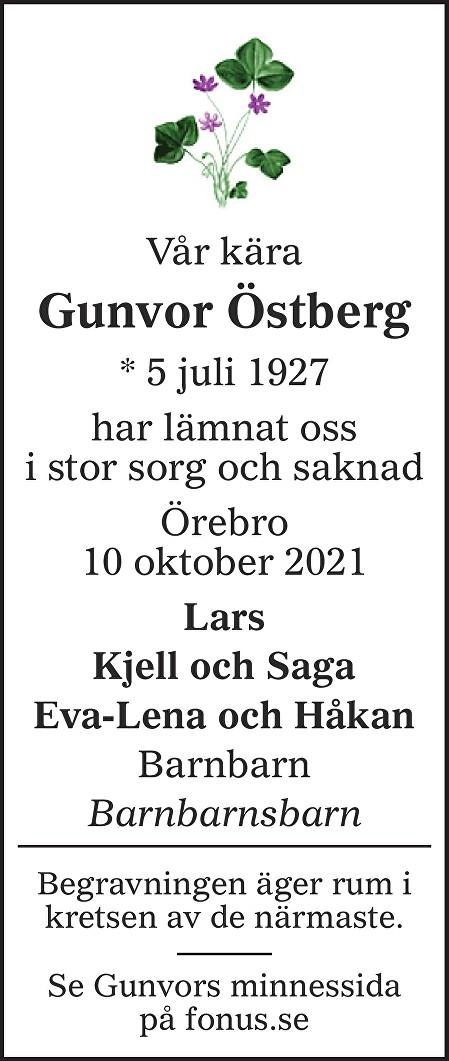 Gunvor  Östberg Death notice