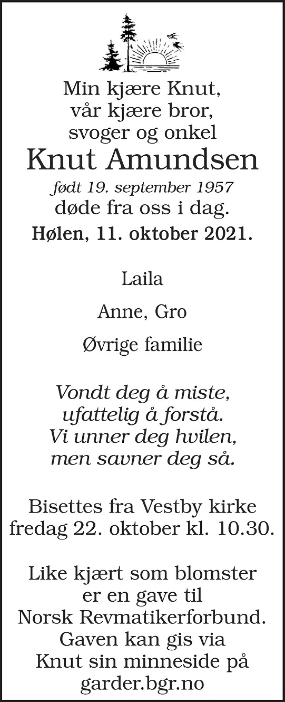 Knut Amundsen Dødsannonse