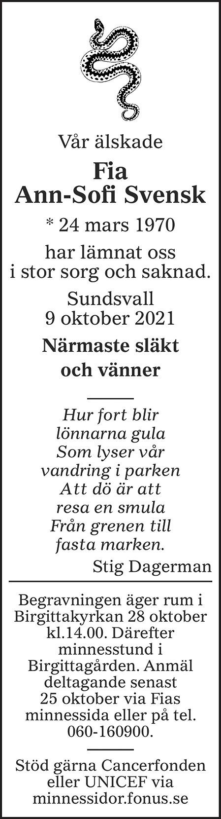 Fia Ann-Sofi Svensk Death notice