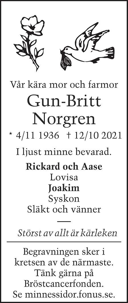 Gun-Britt Norgren Death notice
