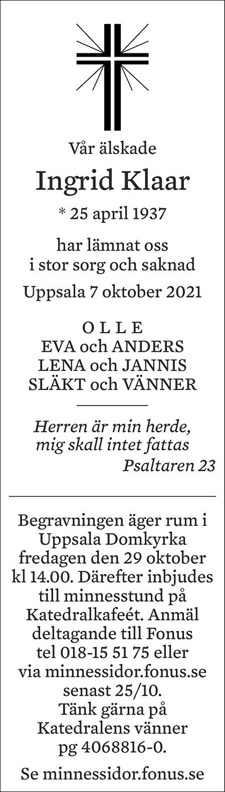 Ingrid Klaar Death notice