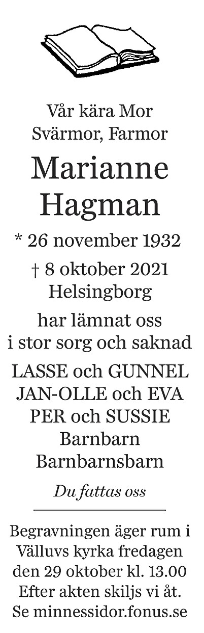 Marianne Hagman Death notice
