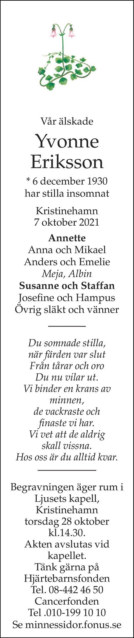 Yvonne Eriksson Death notice