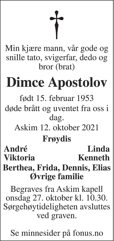 Dimce Apostolov Dødsannonse