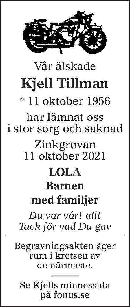Kjell Tillman Death notice