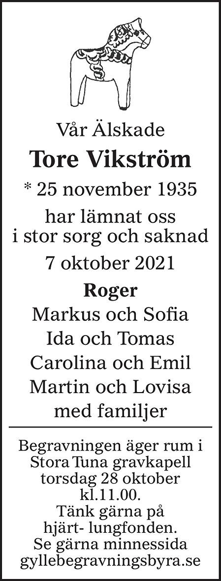 Tore Vikström Death notice