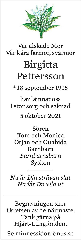 Birgitta Pettersson Death notice