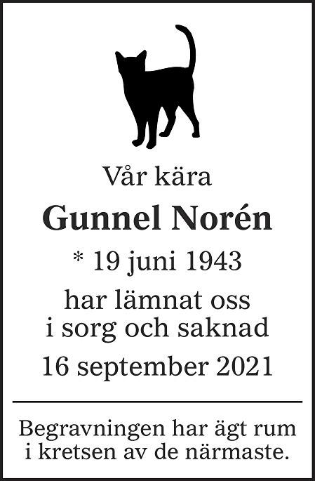 Gunnel Norén Death notice