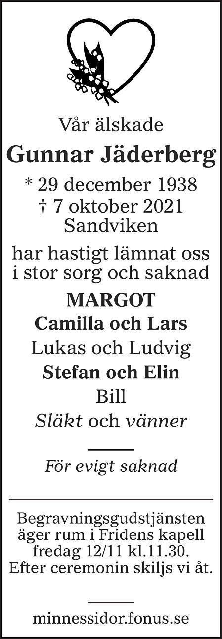 Gunnar Jäderberg Death notice