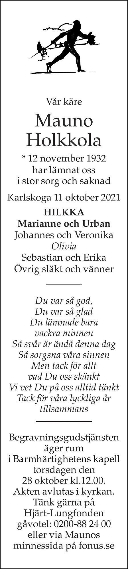 Mauno Holkkola Death notice