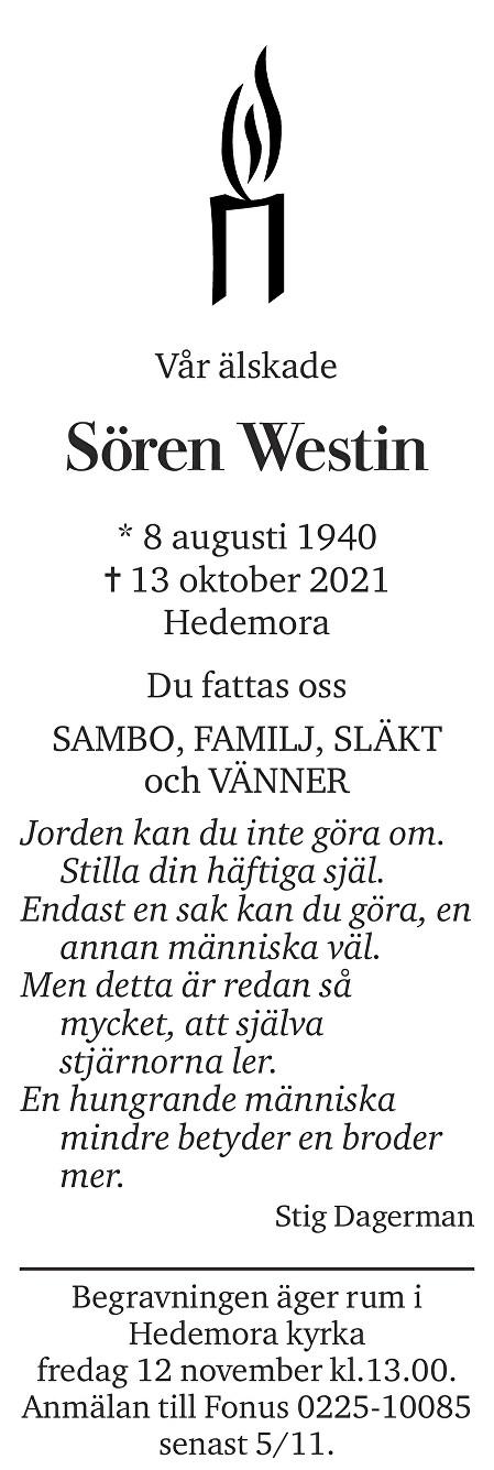 Sören Westin Death notice