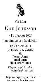 Gun Johnsson Death notice