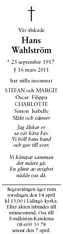 Hans Wahlström Death notice