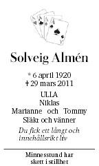 Solveig Almén Death notice