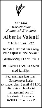 Alberta Valenti Death notice