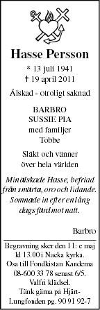 Hasse Persson Death notice