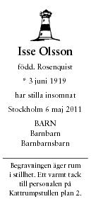Isse Olsson Death notice
