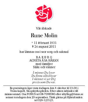 Rune Molin Dödsannons